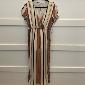 Miami Stripped V Neck Lined Jumpsuit short sleeves